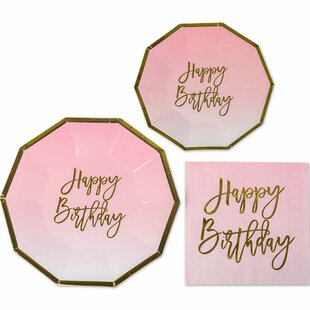 3 Piece Happy Birthday Party Paper Disposable Plates and Napkins