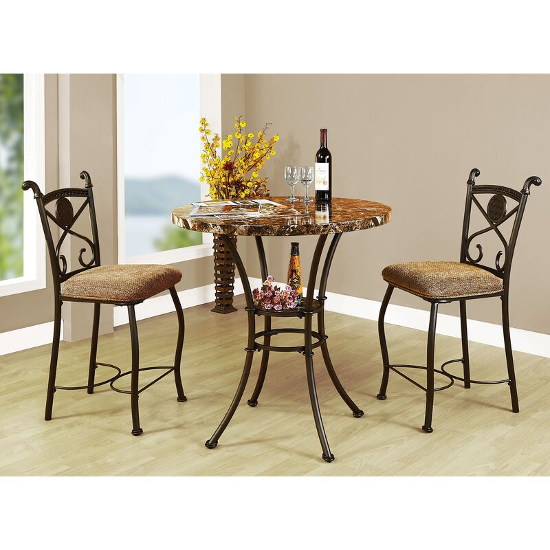 Mira Kleef 3 Piece Counter Height Bistro Set