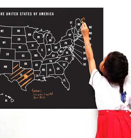 chalkboard map of us
