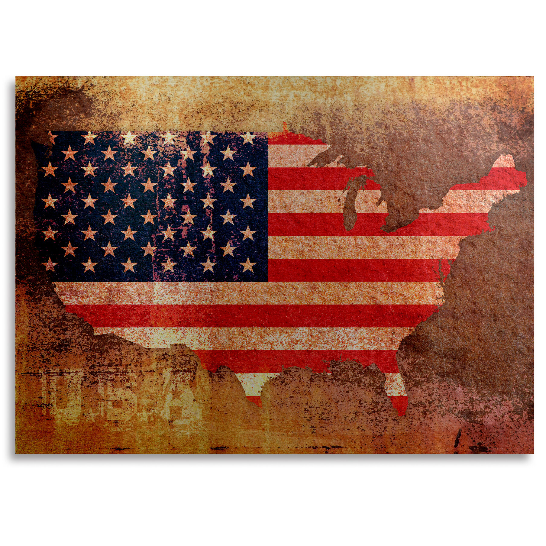 'US Flag Map' Graphic Art on Metal Image Of The United States Flag Map on american revolution bicentennial flag, map of the united states area codes, texas united states flag, map of the united states black, map of the world flag, map of the statue of liberty, map of the philippines flag,