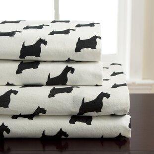 Winter Nights Scotty Dog Flannel 100% Cotton Sheet Set