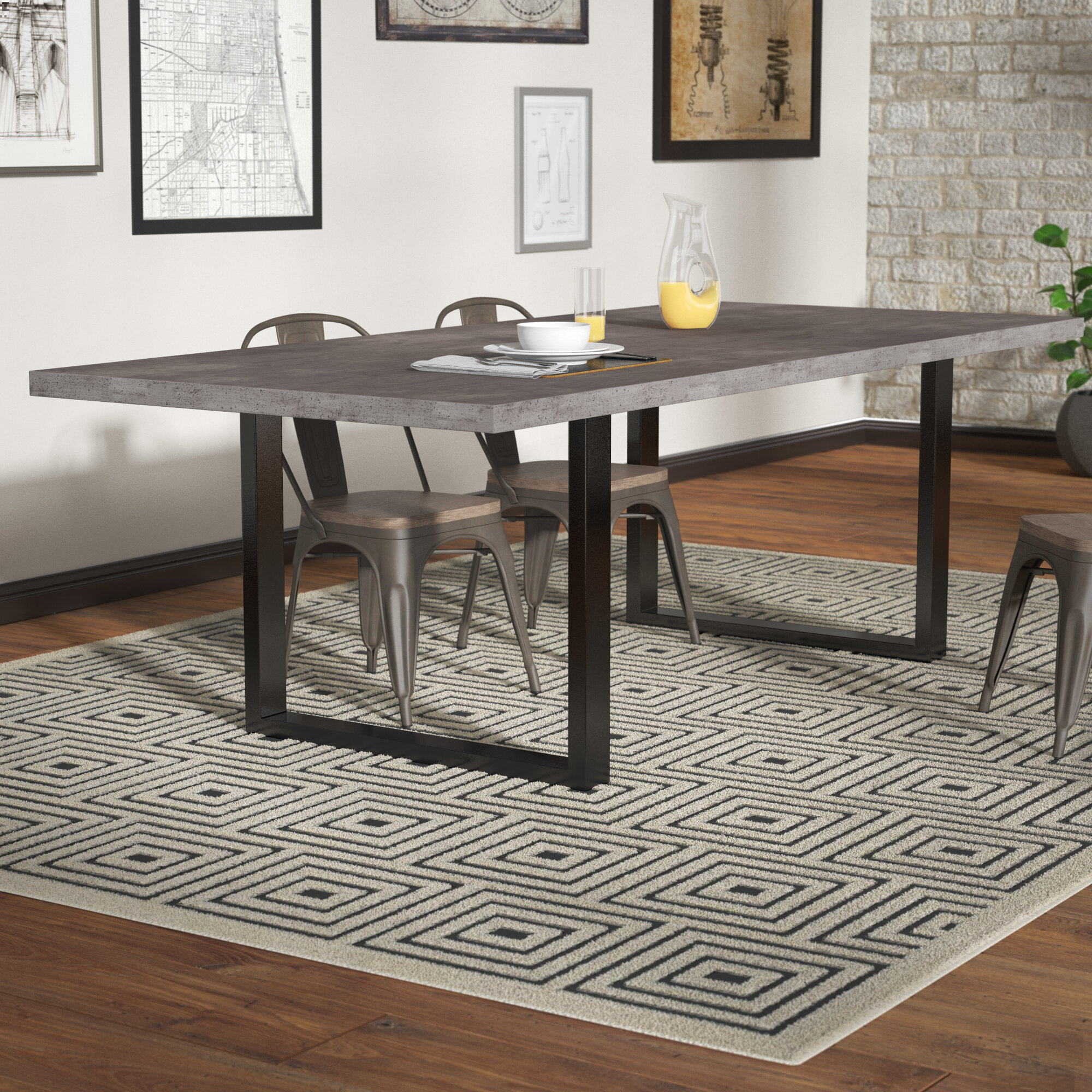 Carnarvon concrete dining table reviews birch lane