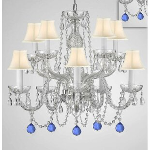 Mellinger Crystal 10-Light Shaded Chandelier by House of Hampton
