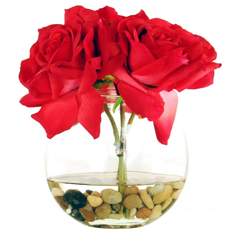 Lcgflorals Roses In A Flat Vase With River Rocks And Faux Water