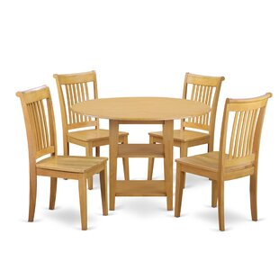 Tyshawn 5 Piece Drop Leaf Breakfast Nook Solid Wood Dining Set by Charlton Home Best #1