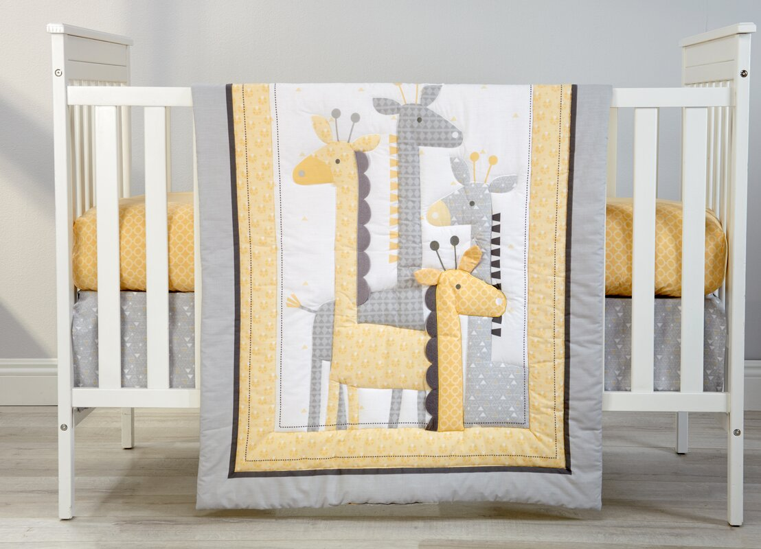 Giraffe Time Infant 4 Piece Crib Bedding Set