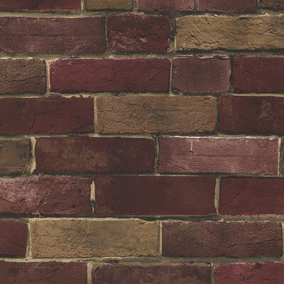 "Williston Forge Okeefe 32.7' x 20.5"" Rust Brick Roll Wallpaper Colour: Red Brick/ Brown"