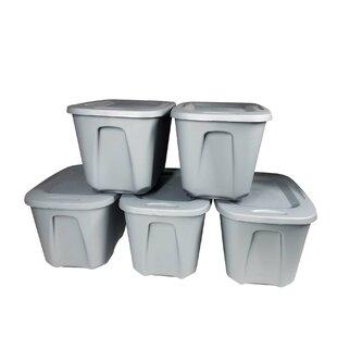 10 Gallon Plastic Storage Tote Set Of 5 By Homz