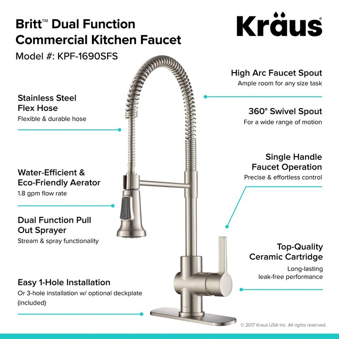 brushed pull nickel rachel faucets spout down kitchen spring front with faucet