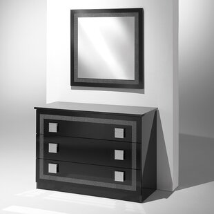 YumanMod Austin 3 Drawer Dresser with Mir..