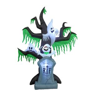 halloween inflatable grave scene with ghost and tree