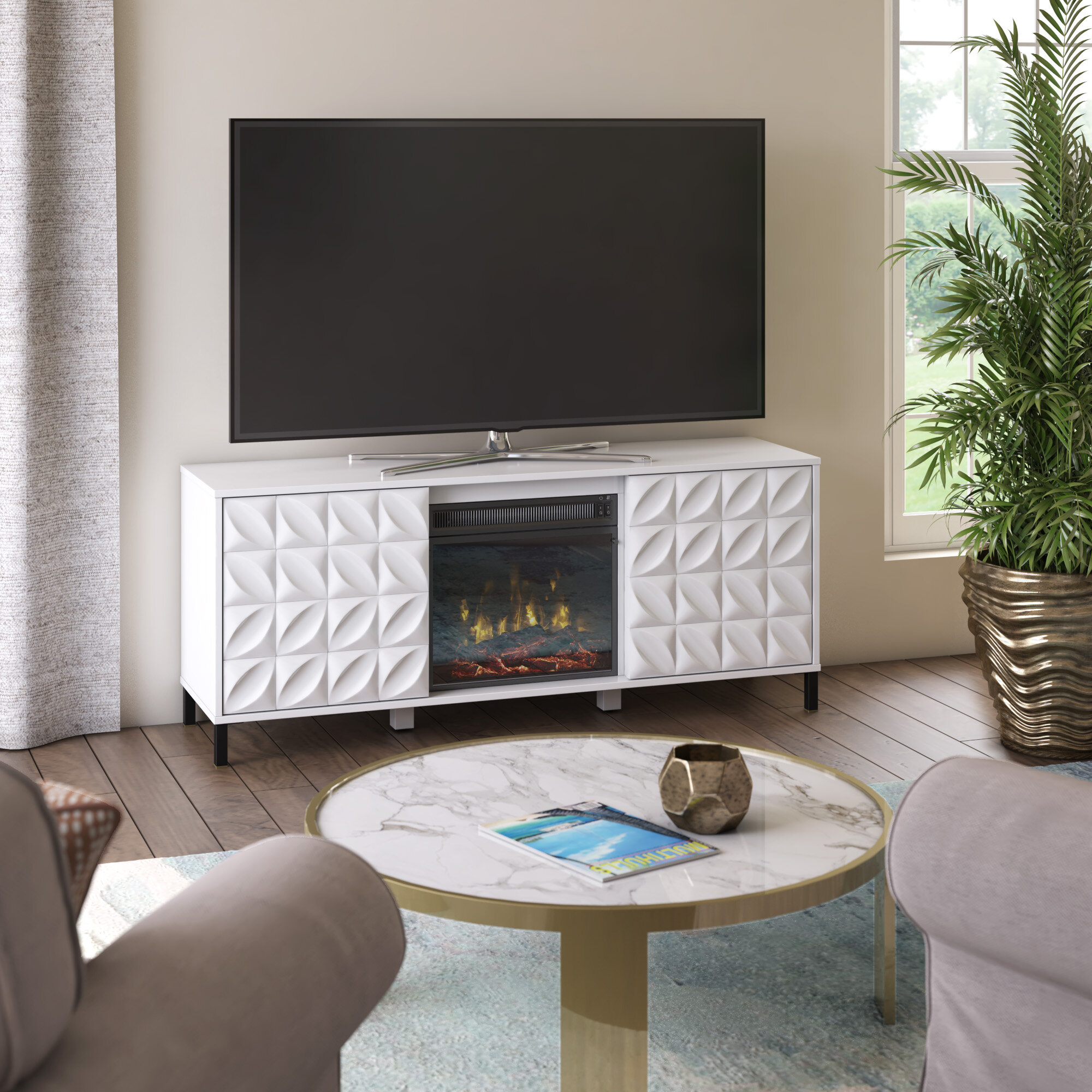 Ebern Designs Mitchellville Tv Stand For Tvs Up To 60 With Electric Fireplace Included Reviews