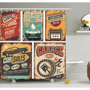 Nostalgic Art Auto Service Garage Funk Style Highway Logo Repair Road Grunge Decor Shower Curtain Set