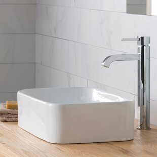 Online Reviews Ceramic 20 Rectangular Vessel Bathroom Sink with Faucet By Kraus