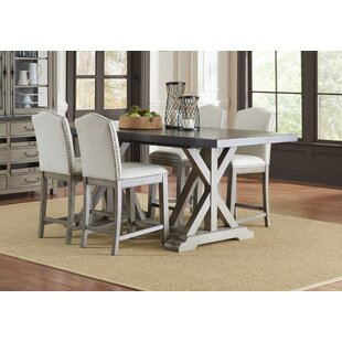 Farmhouse 5 Piece Counter Height Extendable Dining Set