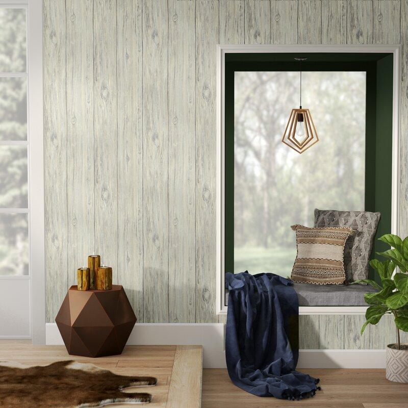 """Nyema Mushroom Wood 16.5' L x 20.5"""" W Brick Peel and Stick Wallpaper Roll"""