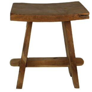 Yellow Pine Teak Decorative Stool By Union Rustic