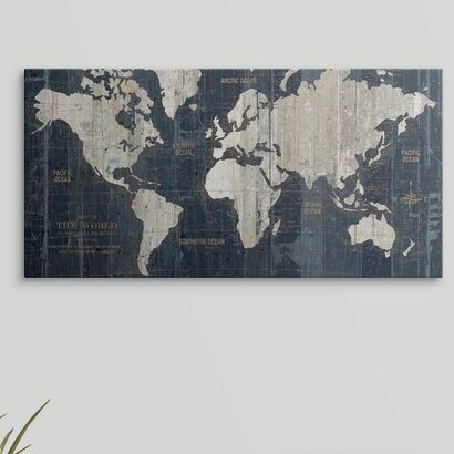 f569daea329 Great Big Canvas  Old World Map Blue  Graphic Art Print   Reviews ...