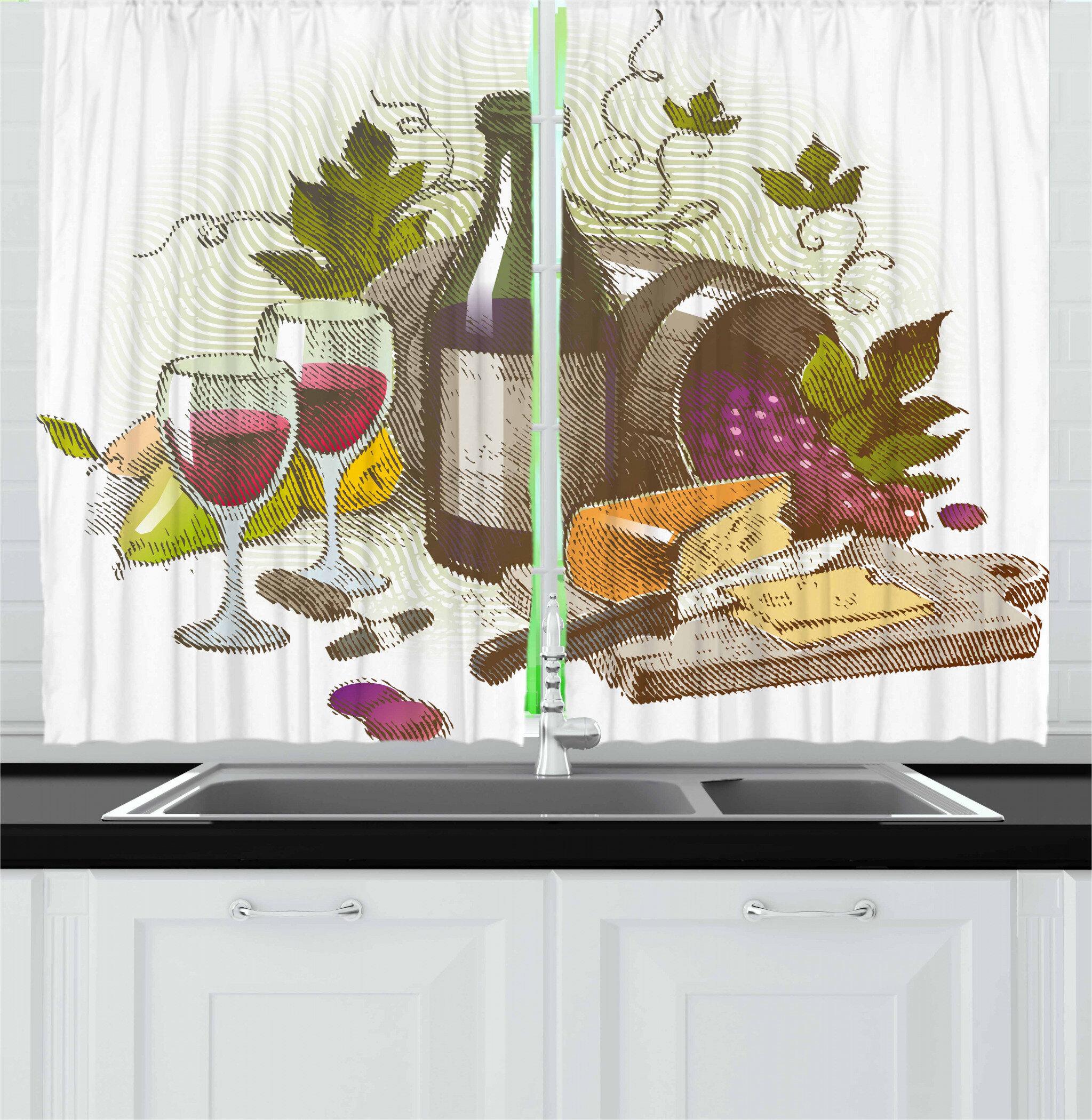 East Urban Home Wine 2 Piece Kitchen Curtain