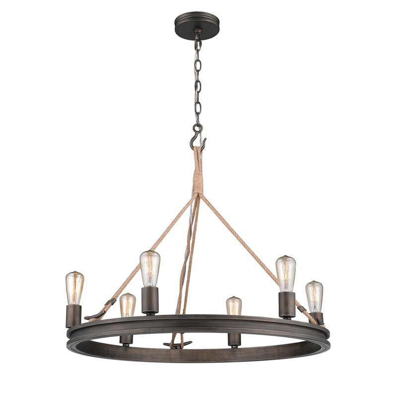 Longfellow 6-Light Wagon Wheel Chandelier