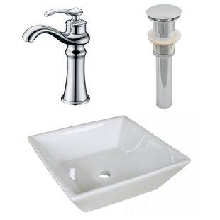 Big Save Ceramic Square Vessel Bathroom Sink with Faucet ByRoyal Purple Bath Kitchen