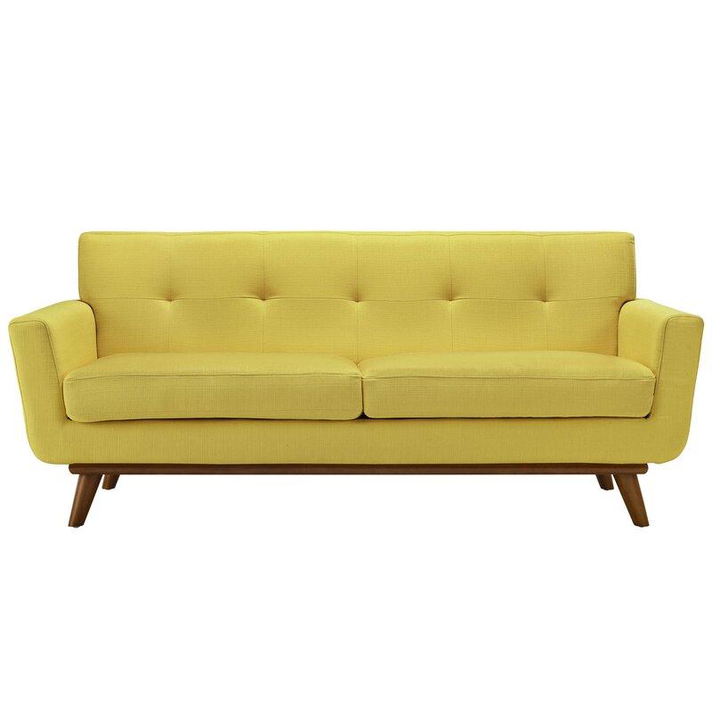 Langley Street Johnston Tufted Upholstered Sofa Reviews Wayfair - Tufted upholstered sofa
