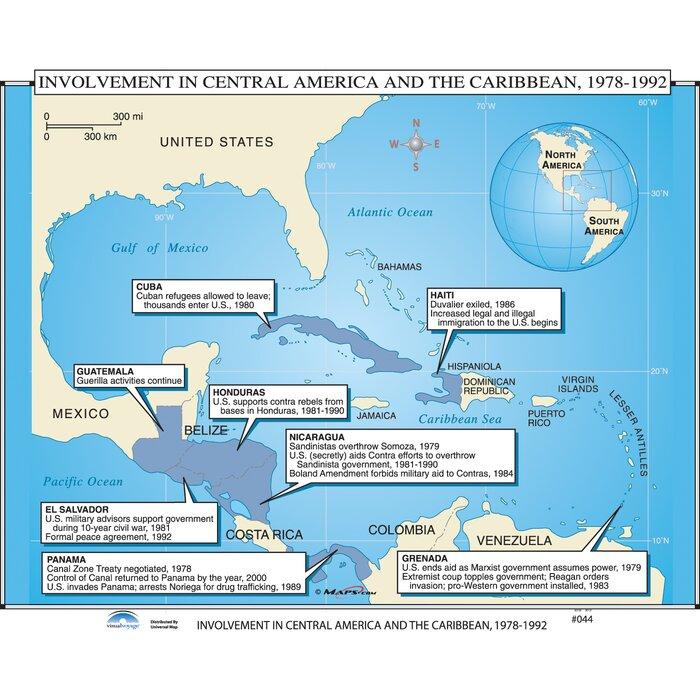Map Of America History.U S History Wall Maps U S Intervention In Latin America Caribbean