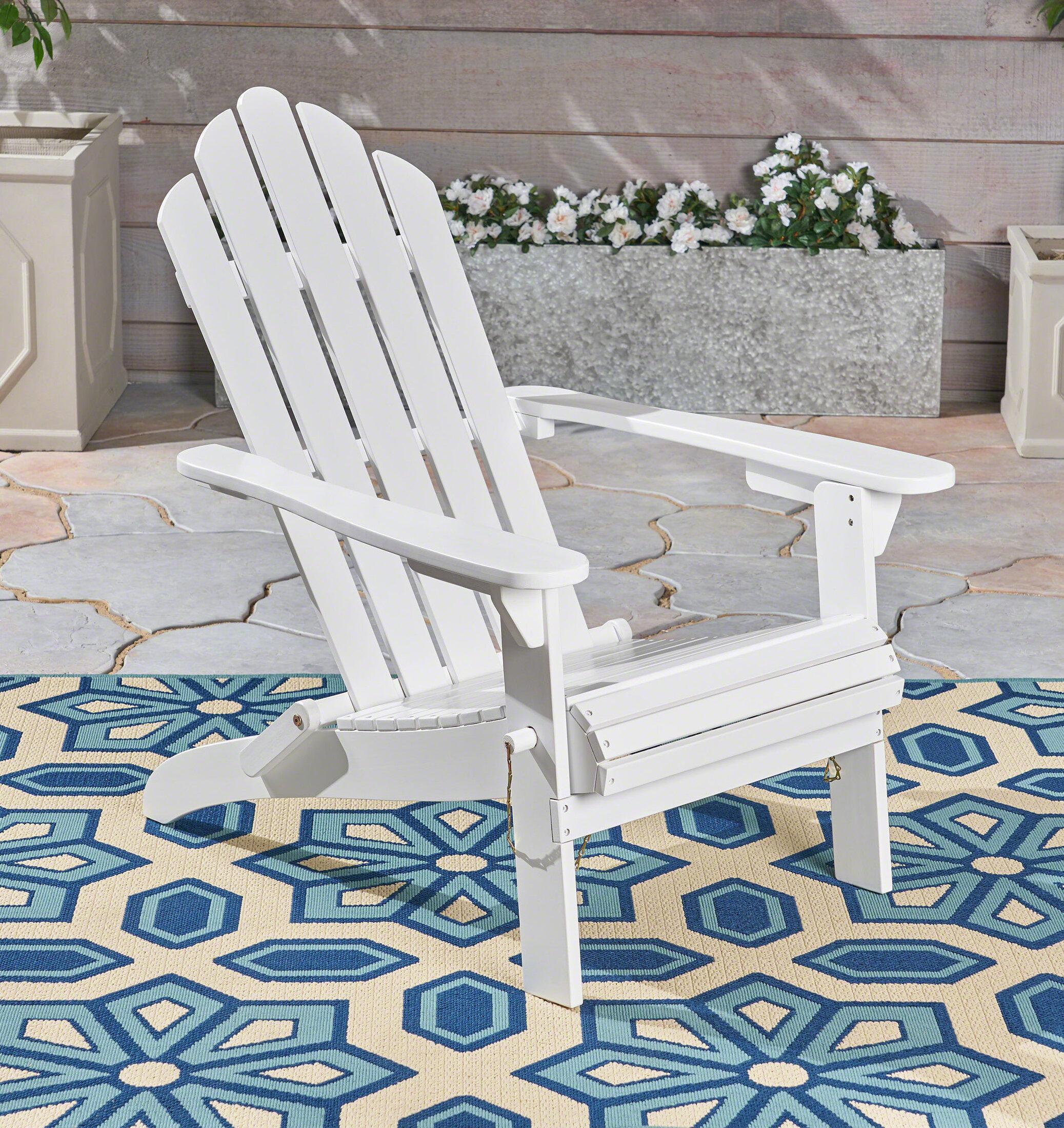 Gracie Oaks Larracey Solid Wood Folding Adirondack Chair