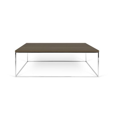 Brayden Studio Soltane Coffee Table Table Base Color: Chrome, Table Top Color: Walnut