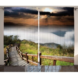 Nature Sunrise over Mountains in Hazy Foggy Sky Italian High Peaks Refreshing Landscape Graphic Print & Text Semi-Sheer Rod Pocket Curtain Panels (Set of 2) by East Urban Home
