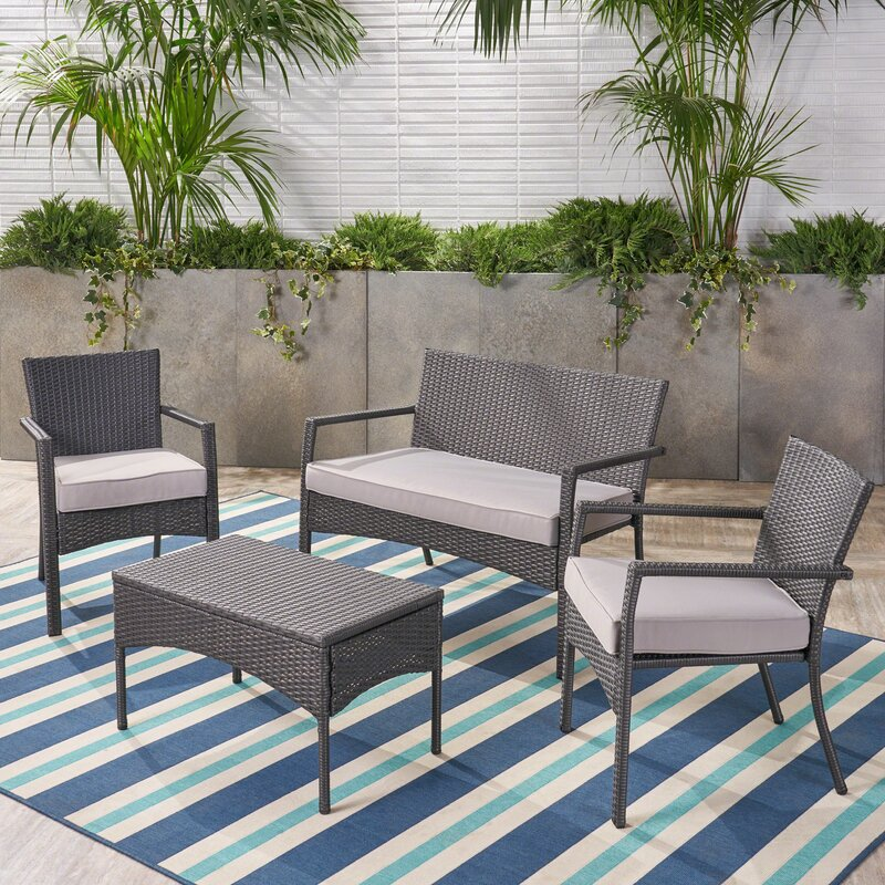 Yasmin 4 Piece Rattan Sofa Seating Group with Cushions