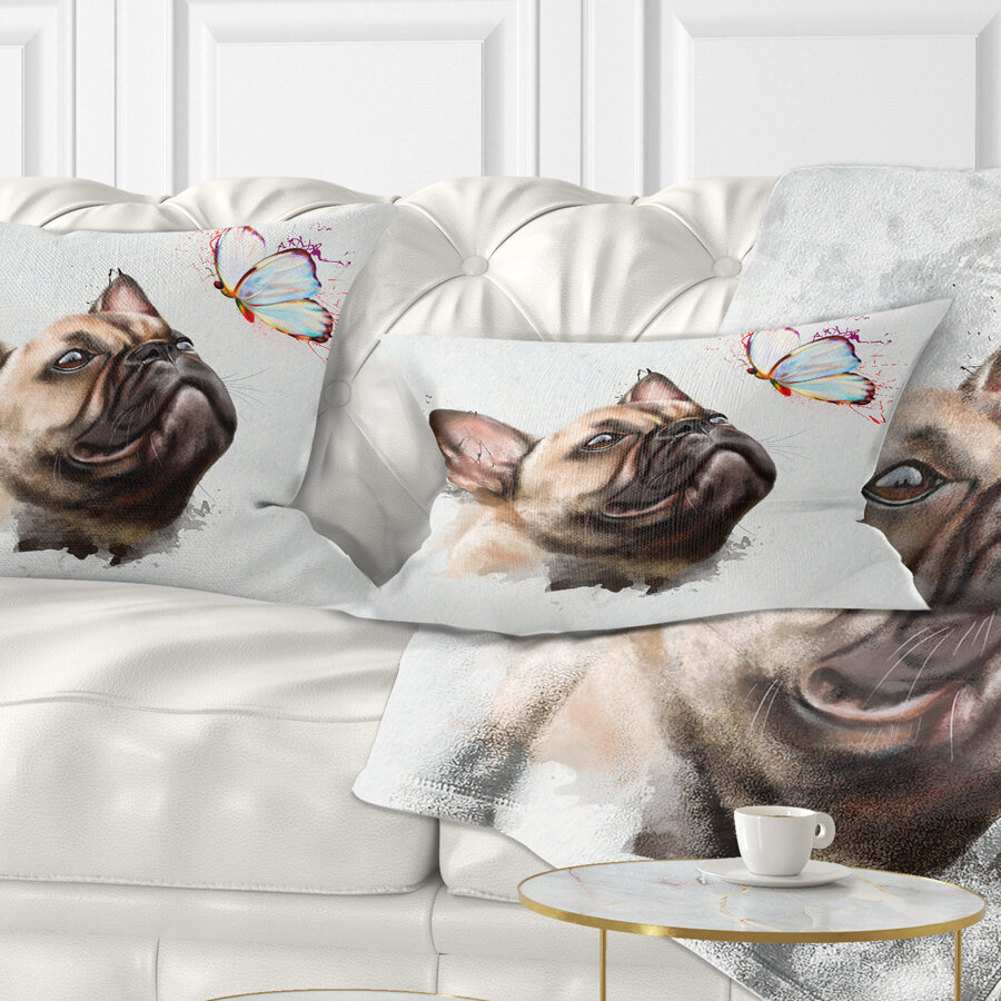 East Urban Home Animal Funny French Dog With Butterfly Lumbar Pillow Wayfair