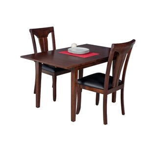Assante 3 Piece Solid Wood Dining Set with Butterfly Leaf Table Alcott Hill