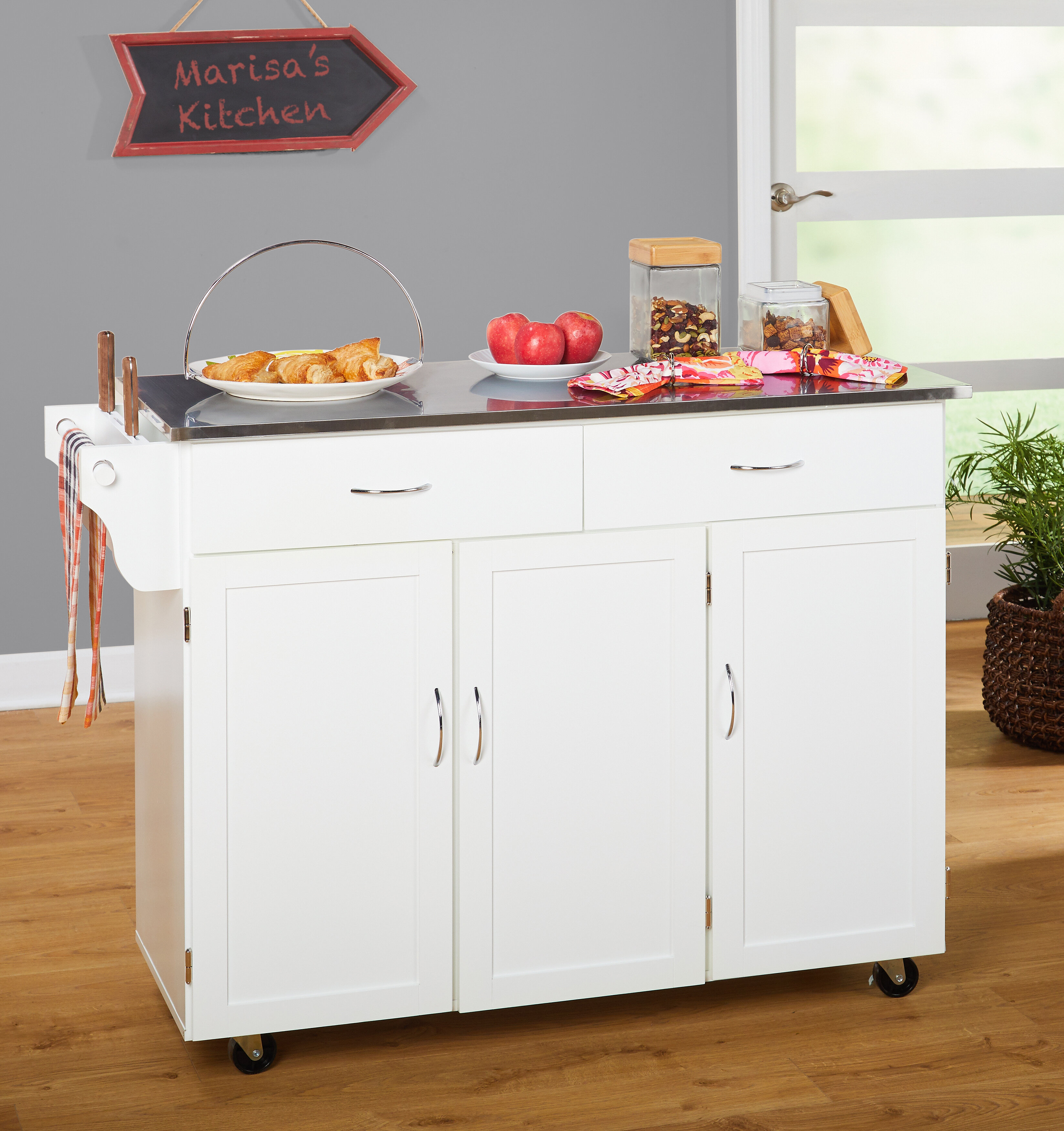 Red Barrel Studio Garrettsville Kitchen Island with Stainless Steel ...