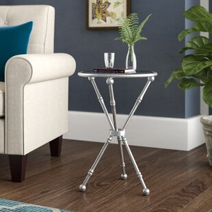 Schweizer Metal and Glass Mirrored Top End Table by Charlton Home