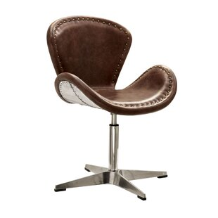 17 Stories Annessia Top Grain Leather Swivel Side Chair