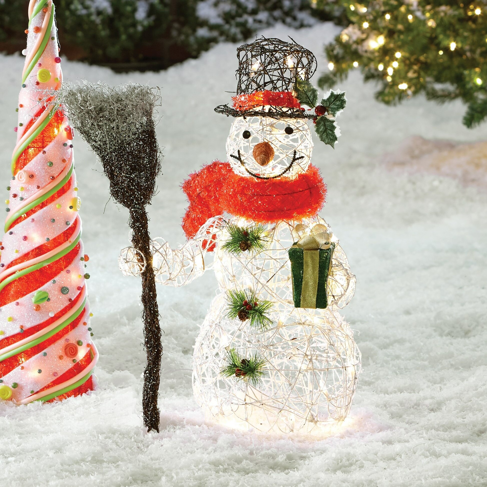 August Grove Snowman Christmas Decoration with Clear Lights ...