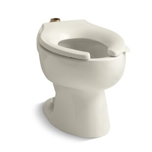 Kohler Wellcomme 1.6 GPF Flushometer Valve Elongated Toilet Bowl with Top Inlet, Requires Seat