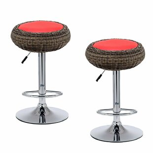 Saxton Height Adjustable Swivel Bar Stool (Set Of 2) By 17 Stories