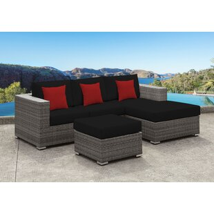 Yeager 3 Piece Rattan Sectional Set with Cushion