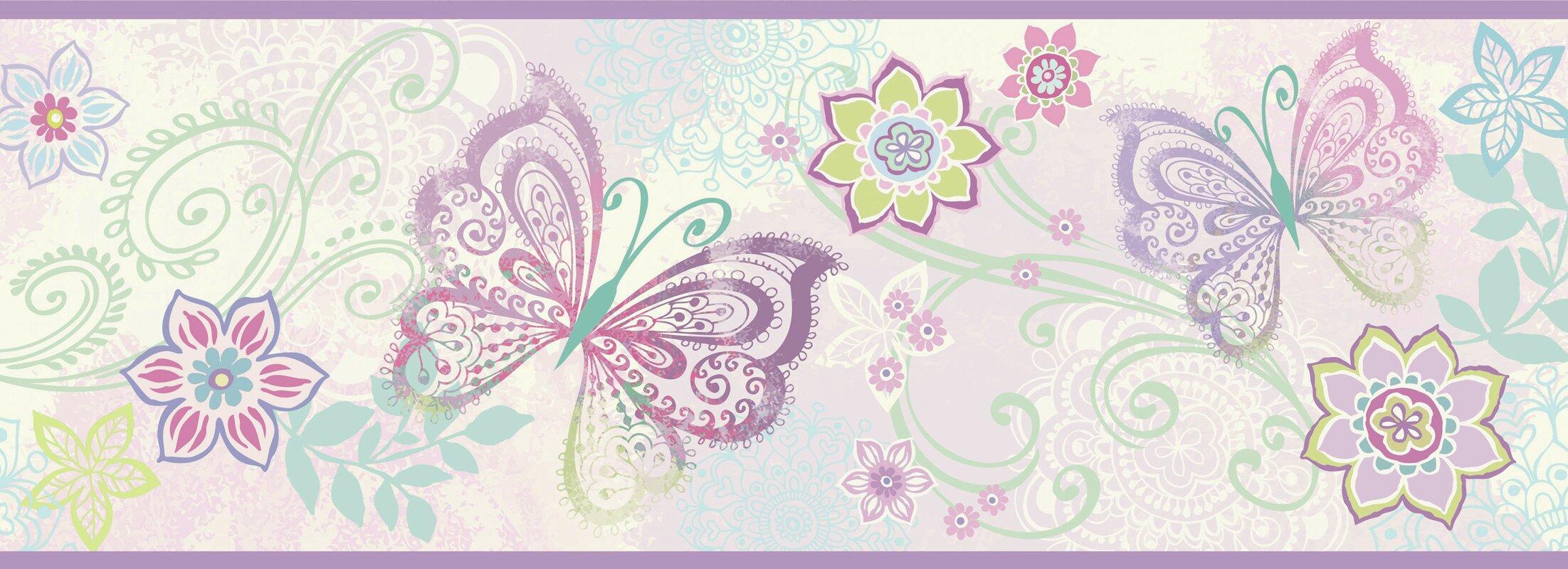 Borders By Chesapeake Fantasia Boho Butterflies 15 X 65 Floral Border Wallpaper