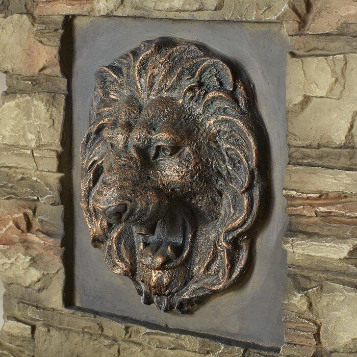 Resin Fibergl Lion Head Outdoor Indoor Water Fountain