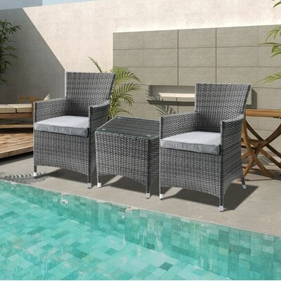 Hobson 3 Piece Bistro Set With Cushions by Wrought Studio Great price