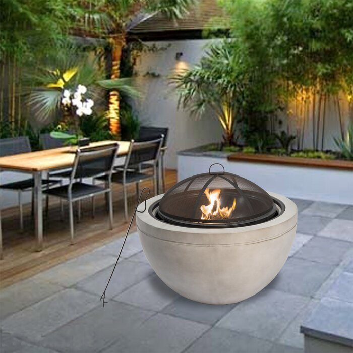 Round Concrete Wood Burning Fire Pit