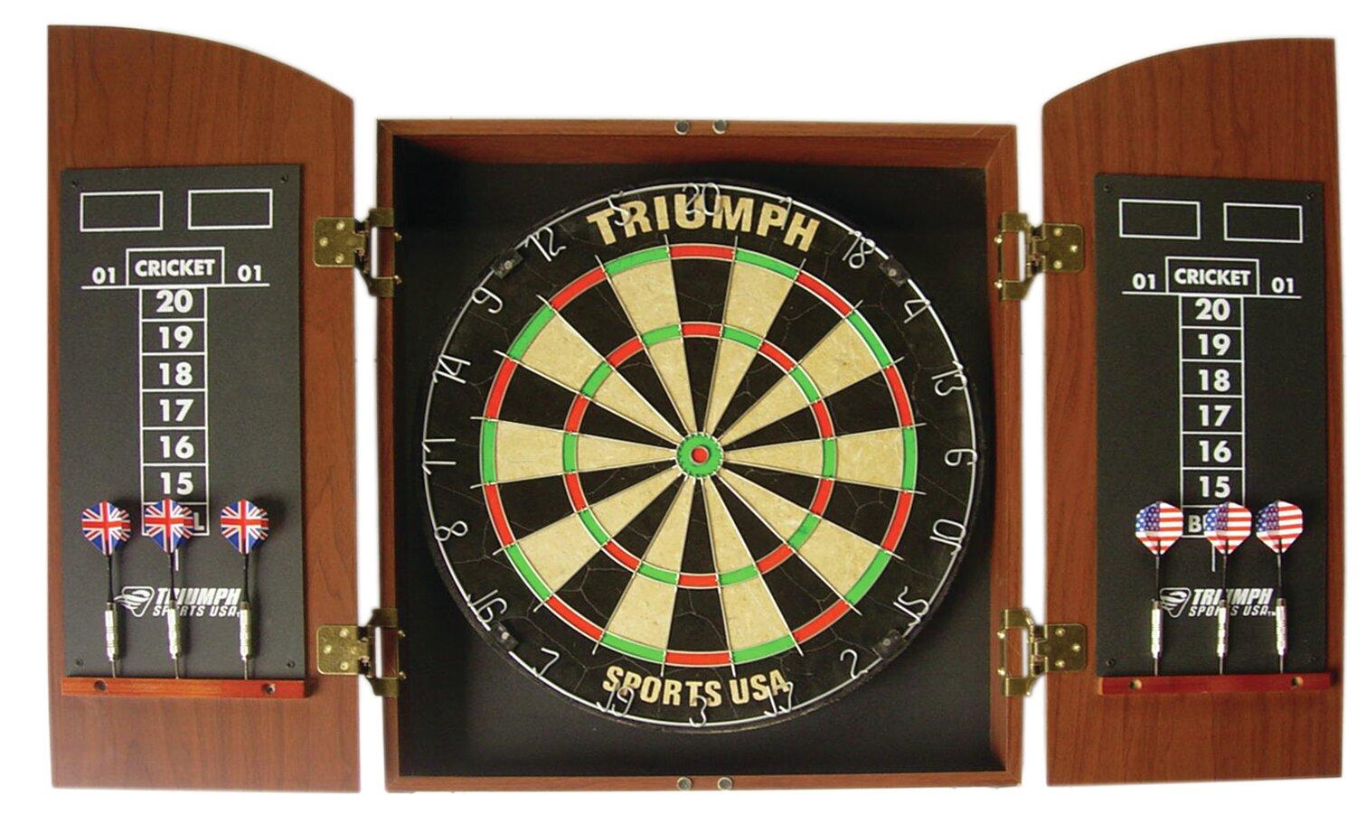 Triumph Sports Usa Wellington Bristle Dartboard And Cabinet Set
