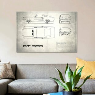 'Shelby Mustang GT500' Graphic Art Print on Canvas in Vintage Silver By East Urban Home