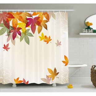 Fall Silhouettes of Maple Tree Leaves in Pastel Classical Shady Nature Graphic Image Shower Curtain Set By Ambesonne