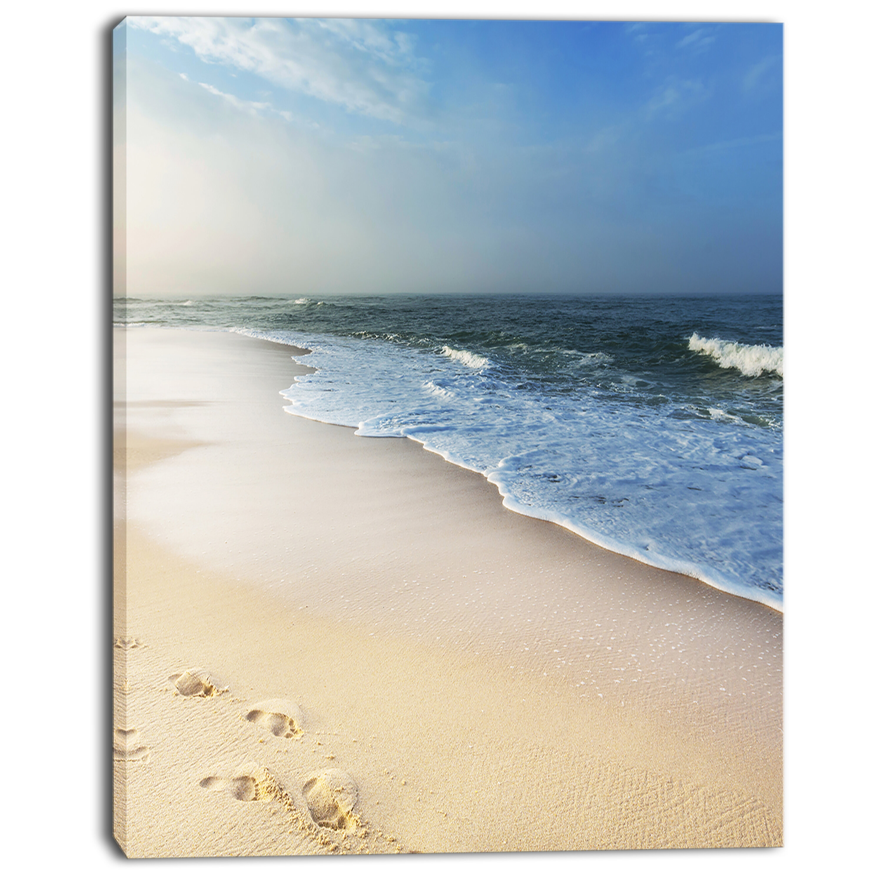 Designart Clam Tropical Beach With Footprints Photographic Print On Wrapped Canvas Wayfair