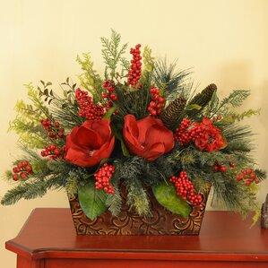 magnolia and berry christmas centerpiece