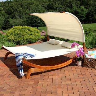 Freeport Park Barry Outdoor Wood Double Chaise Lounge with Cushion